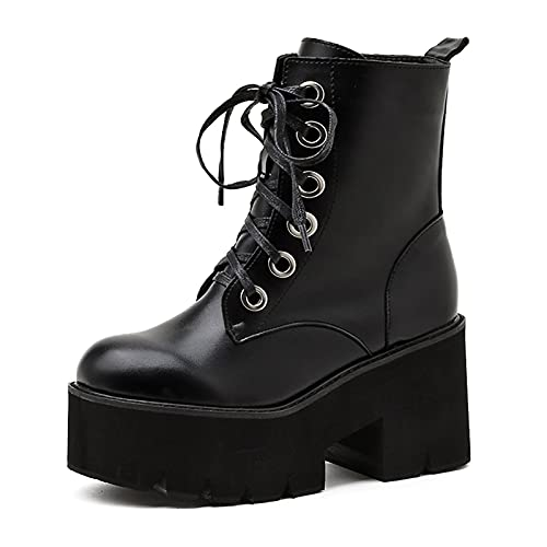 CYNLLIO Botas de tacón grueso para mujer, estilo punk con plataforma, botas de combate góticas a media pantorrilla, botas con cuentas, 5negro, 37 EU
