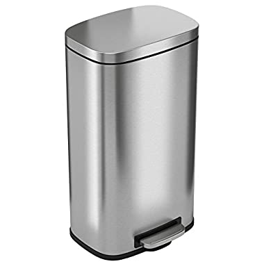 iTouchless SoftStep 8 Gallon Stainless Steel Step Trash Can, 30 Liter Pedal Kitchen Trash Can Perfect for Office, Home and Kitchen