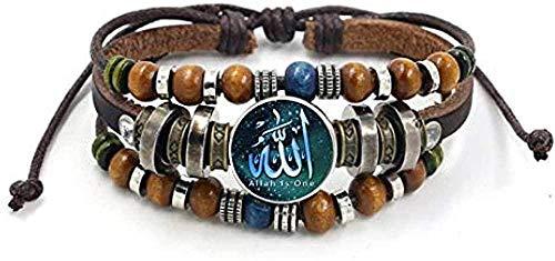Yiffshunl Armband Vintage Islam Allah Perlen Leder Armband Glas Cabochon Charm Snap Button Armbänder für Männer Frauen Muslim Schmuck Zubehör Herren Damen Armband Armreif Schwester Geschenk