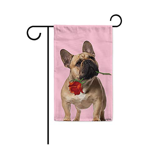 BAGEYOU Sweet Home and Dog Garden Flag French Bulldog and Red Rose Floral Anniversary Valentine's Day Decor Home Banner for Outside 12.5X18 Inch Print Both Sides