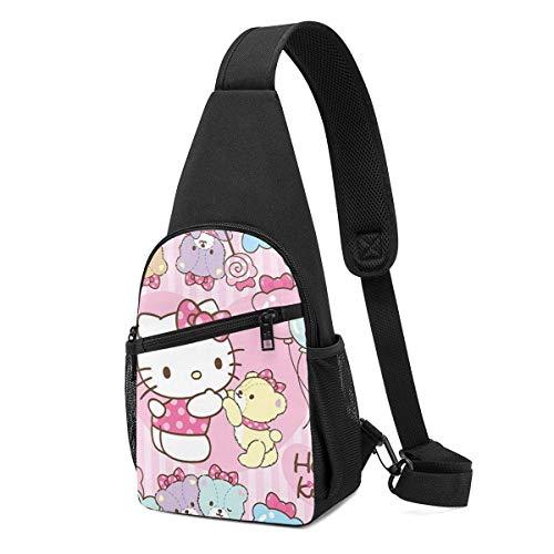 Mochila bandolera de Hello Kitty con oso de Hello Kitty, mochila de viaje, senderismo, para mujeres y hombres