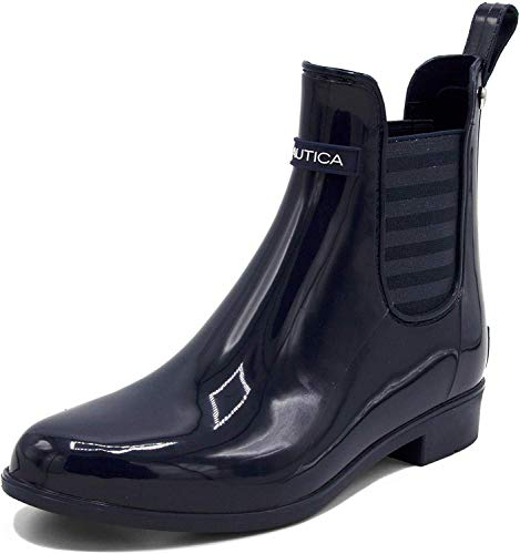 Nautica Ladies Windsail Womens Low Shaft Ankle/Mid Calf Gore Bootie Waterproof Rain Boot-Cliff Port Lurex-Navy Lurex Stripe-8