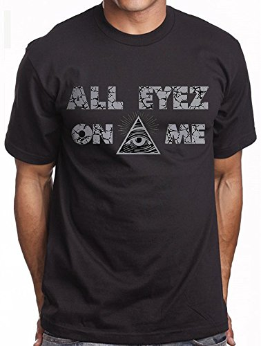 Men's Black Graphic T shirt All Eyez On ME Seeing Eye Urban Rap Tee 2pac OG