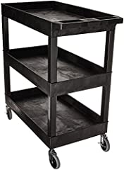 "32""W x 18""D tub shelves are 2.5 deep for the tub shelf depth. 33% more capacity than a standard 24""W x 18""D cart. Has an ergonomic push handle molded into the top shelf. Four 4"" full swivel casters, two with locking brake. Molded plastic shelves and ..."