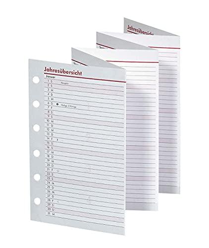 BSB Ersatzeinlage Faltkalender Jahresübersicht Leporello, 2022, ca. A7-6-Fach Lochung - für Pocket Terminplaner Organizer, 02-0285