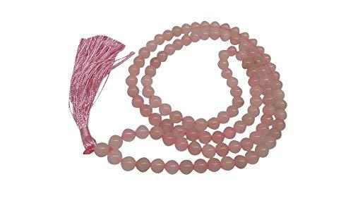 WholesaleGemShop Natural Rose Quartz Mala with 108 Prayer Beads Perfect for Meditation Spiritual Jap Mala Prayer Mala Necklace
