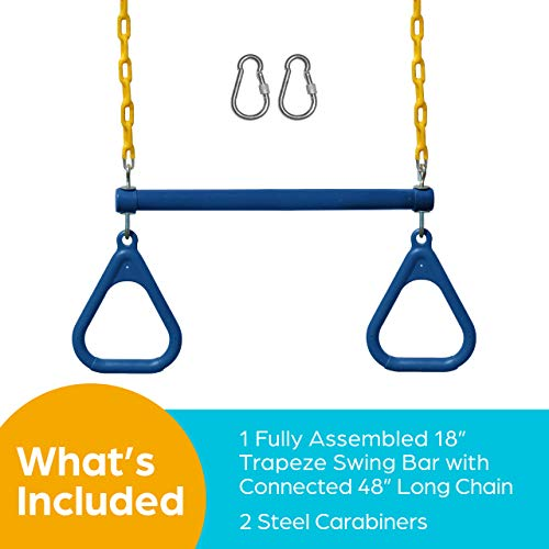 """Jungle Gym Kingdom 18"""" Trapeze Swing Bar with Rings 48"""" Heavy Duty Chain Swing Set Accessories & Locking Carabiners"""