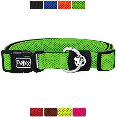 DDOXX Hundehalsband Air Mesh, verstellbar, gepolstert | viele Farben & Größen | für kleine & große Hunde | Halsband Hund Katze Welpe | Hunde-Halsbänder breit | Katzen-Halsband klein | Grün, M
