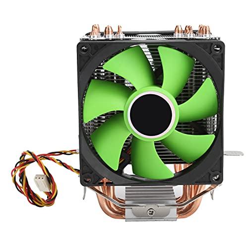 Ventilador de refrigeración de CPU, ventilador de refrigeración de CPU de 9 cm, radiador de ventilador doble de 3 pines, con 6 tubos de calor y 2 ventiladores silenciosos, disipación de calor eficient