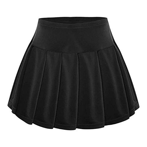 BESPORTBLE Mädchen Sport Tennis Skorts Plissee Shorts Rock hohe Taille Gym Fitness Shorts Rock zum Joggen Jogging Badminton Ping Pong - Größe S (schwarz)