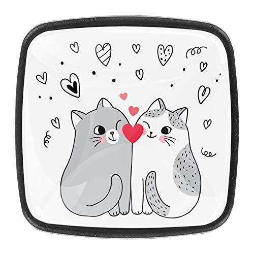 4 pomos de cristal para armario o armario o cajón, diseño de gato