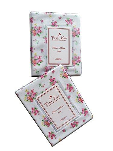 Elsatsang 64 bolsillos Álbum de fotos Mini álbum Retro Rose Flores florido romántico Álbum de fotos Polaroid Mini Tamaño Nombre (Blanco)