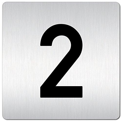 Kinekt3d Leitsysteme XXL Schild - Türschild • 125 x 125 mm • Zahl/Zahlenschild - Türnummern • 1,5 mm Aluminium Vollmaterial • 100% Made in Germany