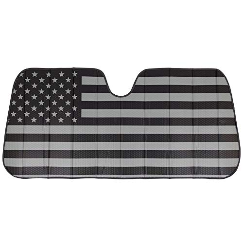 Black White/Gray American Flag - Front Windshield Sun Shade - Accordion Folding Auto Sunshade for Car Truck SUV - Blocks UV Rays Sun Visor Protector - Keeps Your Vehicle Cool - 58 x 28 Inch