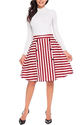 Midi Cotton Striped Skirt Flare A-line High Waist Knee Length Vintage Zippered Skirts for Women