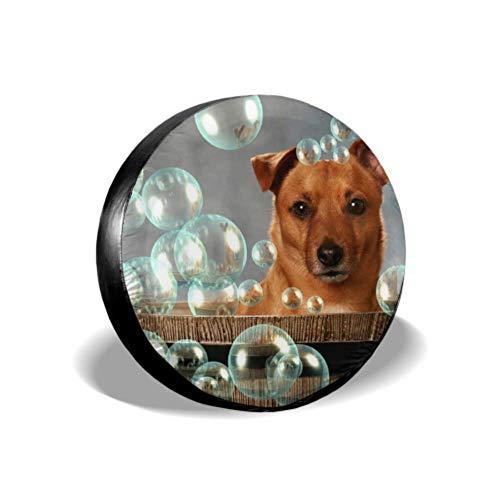 Cute Little Dog Barrel Bubbles Cubiertas de Llantas de Repuesto para remolques Protector de Llantas de automóviles Cubierta de Llantas Apto para remolques RV SUV y Muchos vehículos 14-17inch