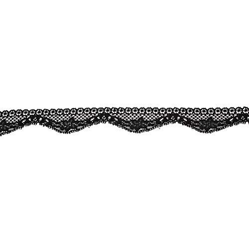Trimming Shop 30mm Brede Zwarte Bloemen Kant met Geborduurde Applique Weblike Patroon voor Bruiloft Jurk Décor, Frill Kleding, Sieraden maken, Haak Projecten, 1 Meter
