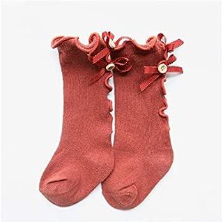 Lovely Socks 3 Pairs Children Cotton Socks Kids Cotton Spring and Autumn Bow-Knot Wooden Ear Side Mid Tube Socks (Wine Red) Newborn Sock (Color : Orange)