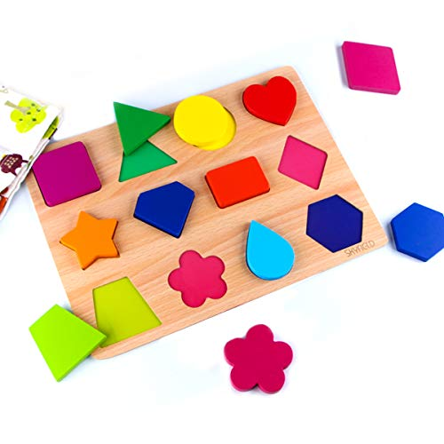 SKYFIELD Wooden Shape Puzzles, Vibrant Color Puzzles for Toddlers 3 Years Old and Up, Preschool Boys & Girls Educational Learning Toys, Sturdy Wooden Construction , 13.4'' L x 9.8'' W (Shape Puzzle)