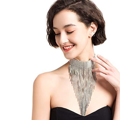 GUSHION Aussage Halskette für Frauen Silber Quaste Lätzchen Choker Kragen Kette Lange Atemberaubende Strass Kristall Damen Neuheit Mode Hals Schmuck Zubehör für Täglichen Geschenkbox GUN23 Silver