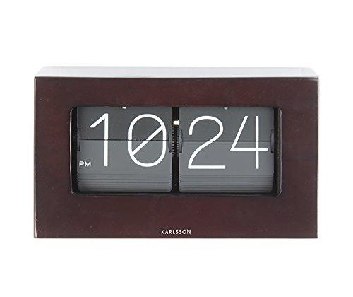 Karlsson Boxed Flip horloge, wandklok, rubber, donker hout, één maat