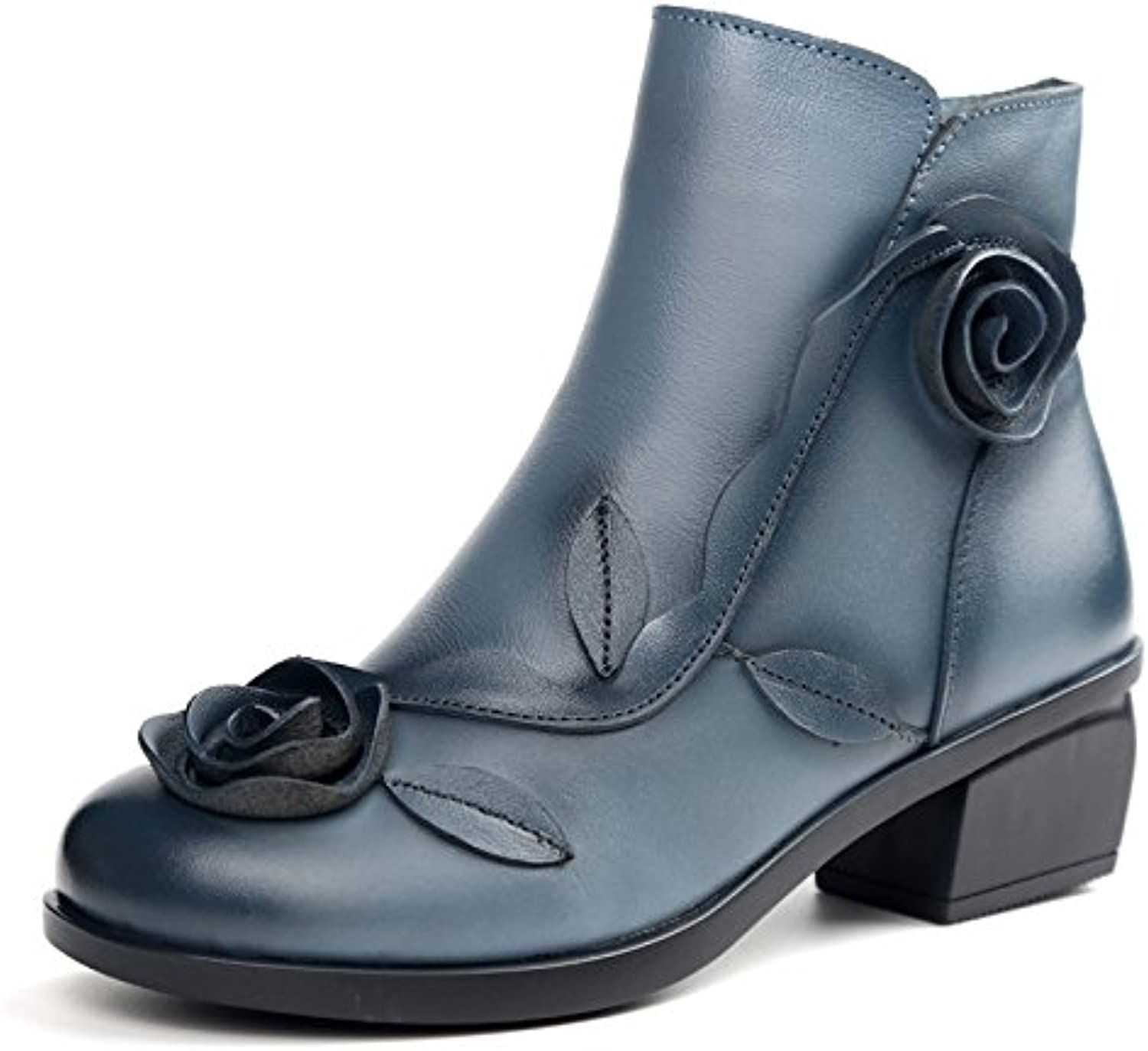 LingGT Flower Boots for Women Handmade Vintage Leather Block Leather shoes (color   bluee, Size   CA 7)