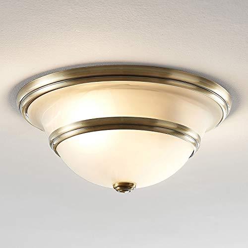 Lampenwelt Deckenlampe 'Ursula' (Retro, Vintage, Antik) in Bronze aus Glas u.a. für Wohnzimmer & Esszimmer (2 flammig, E27, A++) - Deckenleuchte, Lampe, Wohnzimmerlampe