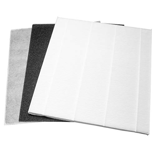 vhbw 3x Ersatzfilter, Luftfilter passend für DeLonghi DAP700EEX.2, DAP 700 E EX 2 Luftbefeuchter - HEPA-Filter, Aktivkohle-Filter, Vor-Filter