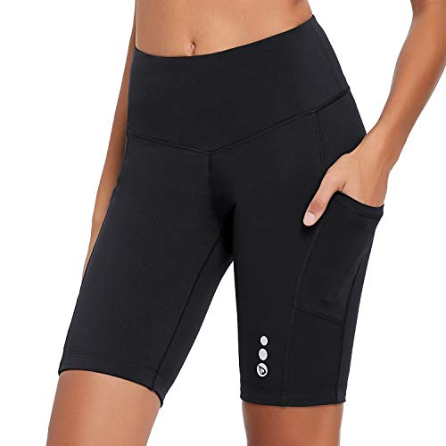 BALEAF Women's 9'' High Waist Biker Shorts Compression Cycling Tights Pockets UPF 50+ Black XL