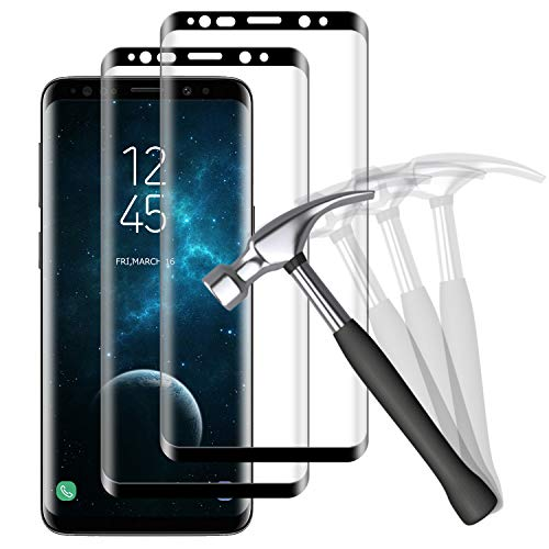 NUOCHENG Verre Trempé pour Samsung Galaxy S8, [2 pièces] 3D Couverture Complète, Anti-Rayures, Dureté 9H, HD Transparence sans Bulles Film Protection Écran pour Samsung Galaxy S8