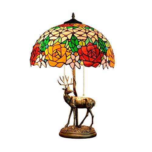 Jay Rosa roja y Amarilla Lámpara de Mesa-Artesanía Retro Vidrieras Coloridas Cuentas de Cristal Luz de Escritorio Pastoral Estilo mediterráneo Tocador de Dormitorio Lámparas de Noche