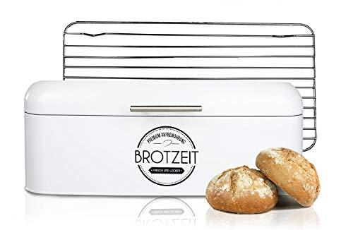 LOFTASTIC® Brotkasten Set inkl. Lüftungsgitter aus Edelstahl I Hochwertige Metall Brotbox in verschiedenen Größen I Die stilvollste Aufbewahrung für noch länger frisches Brot (Groß 43x23x17cm)