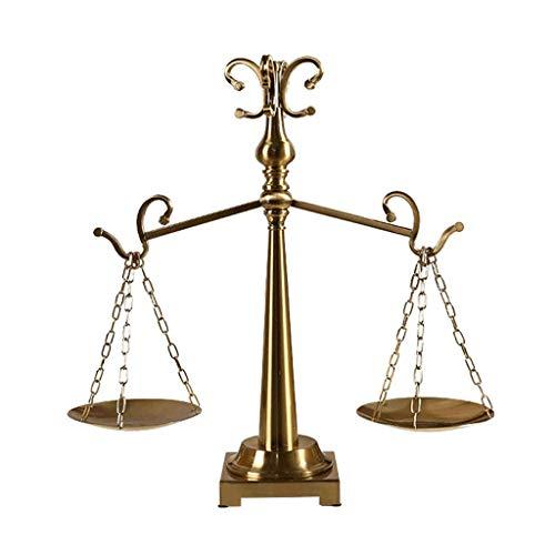 LONGWDS Estatua de escultura, equilibrio de metal, decoración de escritorio, modelo de casa, mueble de TV, armario de vino, decoración creativa de porche (color: dorado, tamaño: 52 x 53 cm) Adornos