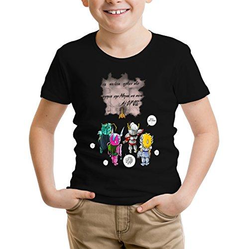Okiwoki T-Shirt Enfant Noir Saint Seiya parodique Seiya, Shiryu, Hyoga et Shun dans la Maison d'Aioros : 4 touristes Japonais perdus en Grèce. (Parodie Saint Seiya)
