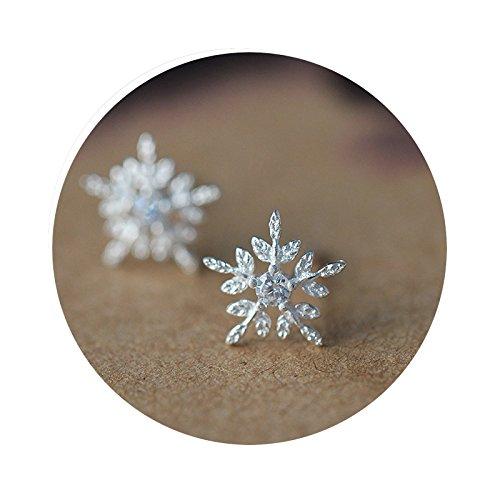 Creolen Silber Xxl Ohrring Silber 925 Damen Blisfille Weihnachten 925 Sterling Silber Schneeflock Diamant Zirkonia Blumen Silber Rund Cut Ohrringe Für Frauen