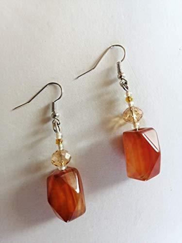 Rojo - pendientes naranjas - piedras de cornalina - colgantes clásicos - idea de regalo hecha a mano - mujer