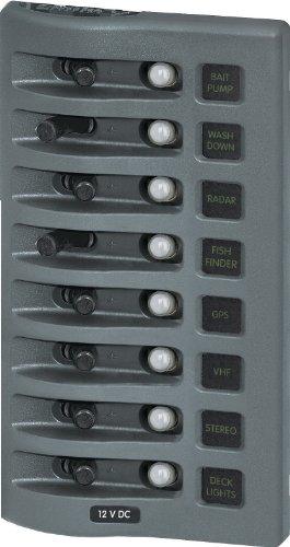 Blue Sea Systems WeatherDeck 12V DC Waterproof 8-Position Circuit Breaker Panel, Grey