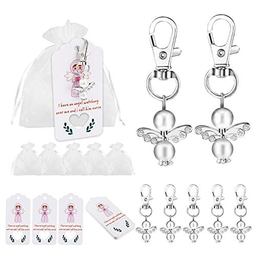 Daimay 20 juegos de cuentas de ángel con colgante de perlas de organza para regalo bolsas de agradecimiento Ángel de la guarda para invitados baby shower de boda recuerdos llavero regalo Set - blanco