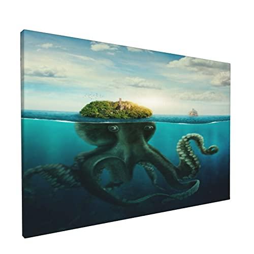PATINISA Fantasa Spooky Island Seascape Pulpo gigante disfrazado en la superficie del ocano Painting Cuadro sobre Lienzo Canvas Wall Art para Colgar Impresin de la Lona 45x30cm