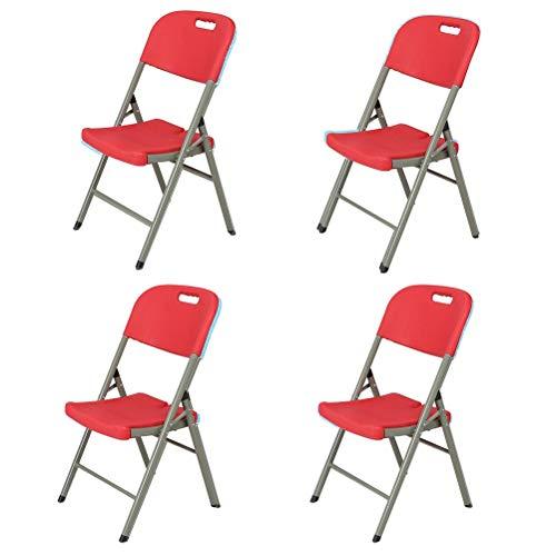 YPEZ Red Tragender 500 Pfund Klappstuhl (bequem und schön High Load Design-Klappstühle), bequemen Sessel for Besprechungszimmer, Parties, Kaffeehäuser, Restaurants 2-teilig (Größe : 4 Pack)