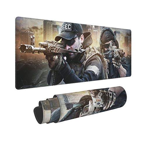 Escape from Tarkov Gaming Mouse Pad, (31.5x11.8 Inches) Large Big Computer Keyboard Mouse Mat Desk Pad with Non-Slip Base and Stitched Edge for Home Office Gaming Work, Black