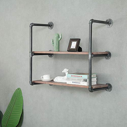 WGX Design For You Industrial Retro Wall Mount Iron Pipe Shelf DIY Storage Shelving Bookshelf (2 Shelves,Included Planks…