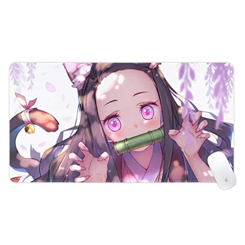 suzzc Anime Demon Slayer Mouse Pad Cute Nezuko Gaming Mouse Pad Thicken Mouse Pad Non-Slip Desk Mat for Office Home|15.75 X 29.53 in