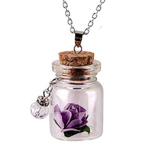 Ywoow , Glow in the Dark Flower Glass Tiny Wishing Bottle Vial Necklace Pendant Chain