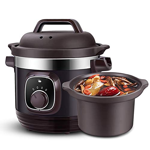Lila Toneintopf, elektrischer Schmortopf, automatischer Haushaltskeramik-Suppentopf, großes Fassungsvermögen, 4 Liter Auflauf, kann ganzes Huhn schmoren