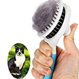Cat Brush, Self Cleaning Slicker Brushes for Shedding and Grooming Removes Loose Undercoat, Mats and Tangled Hair Grooming Comb for Cats Dogs Brush Massage-Self Cleaning