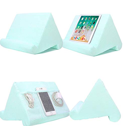 Cushion Stand Tablet Cushion with Net Pocket Multi-Angle Soft Tablet Pillow Adjustable 3 Viewing Angle, for Lap, Sofa and Bed - Universal Phone & iPad Stands, eReaders, Magazines, Kindle (Light blue)