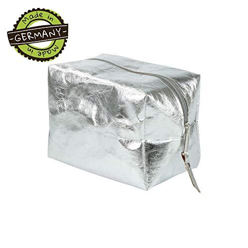 papyrMAXX POLLY vegan cosmeticatas maat M I Etui met ritssluiting van lederlook papier I Toilettas voor cosmetica I Organizer make-up tas van wasbaar papier - metallic zilver