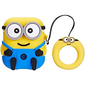 GadgeTEQ Wireless Airpods Cute Minions Silicone Protective Cases for Apple Airpods Earphone Accessories (3D Minion)