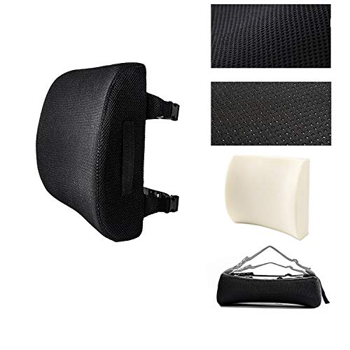 Office Chair Lumbar Support Frame, Car Back Pillow, Memory Foam Orthopedic Cushion, Provide Lumbar Support, Improve Posture, Washable and Machine Washable (Black)